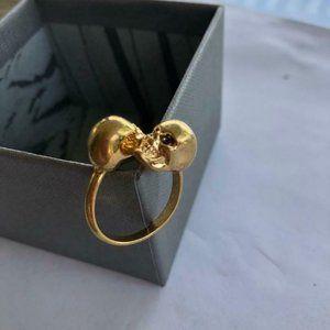 COPY - Alexander McQueen  Goldtone Twin Skull Ring